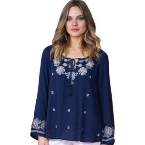 MISS ME | Embroidered Long Sleeve Peasant Top S
